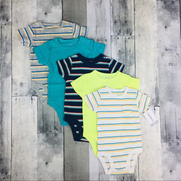 56abe6292 Carter's One Pieces | Carters 5 Pack Short Sleeve Bodysuits For Boys ...